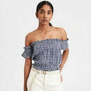 AEO Navy Blue & White Gingham off shoulder top